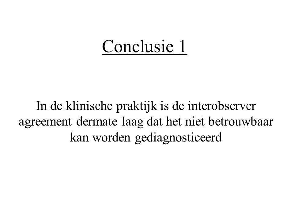 Conclusie 1 In de klinische praktijk is de interobserver agreement dermate laag dat het niet betrouwbaar kan worden gediagnosticeerd.