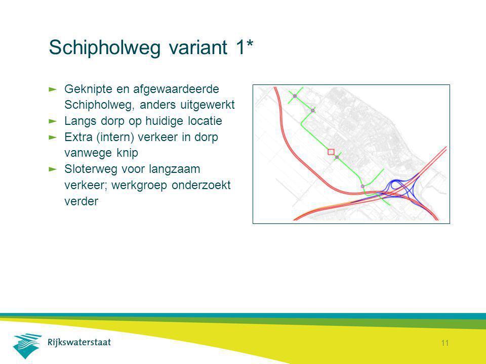 Schipholweg variant 1* Geknipte en afgewaardeerde Schipholweg, anders uitgewerkt. Langs dorp op huidige locatie.