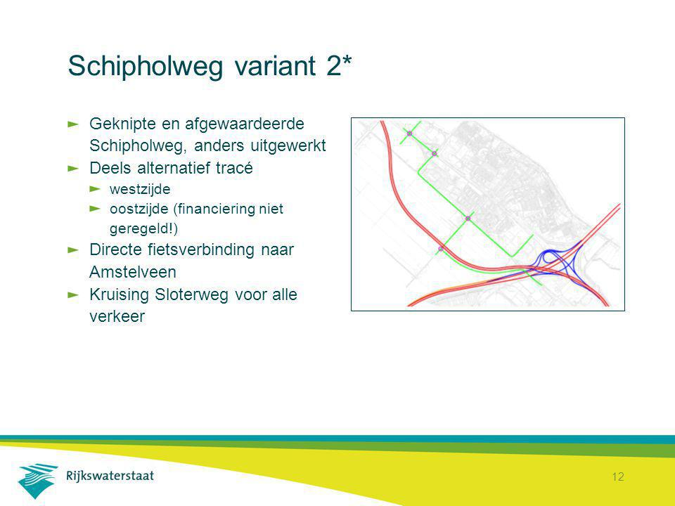 Schipholweg variant 2* Geknipte en afgewaardeerde Schipholweg, anders uitgewerkt. Deels alternatief tracé.