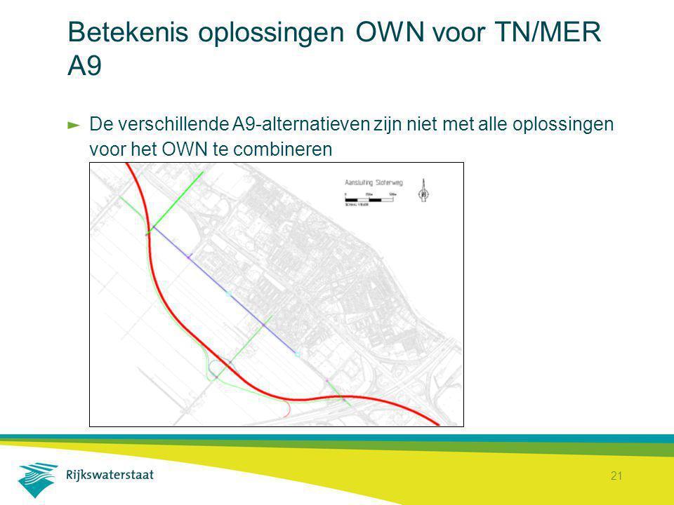 Betekenis oplossingen OWN voor TN/MER A9