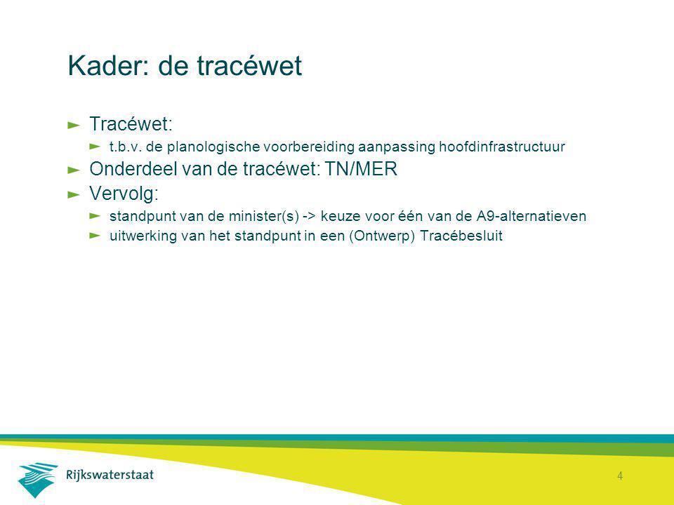 Kader: de tracéwet Tracéwet: Onderdeel van de tracéwet: TN/MER