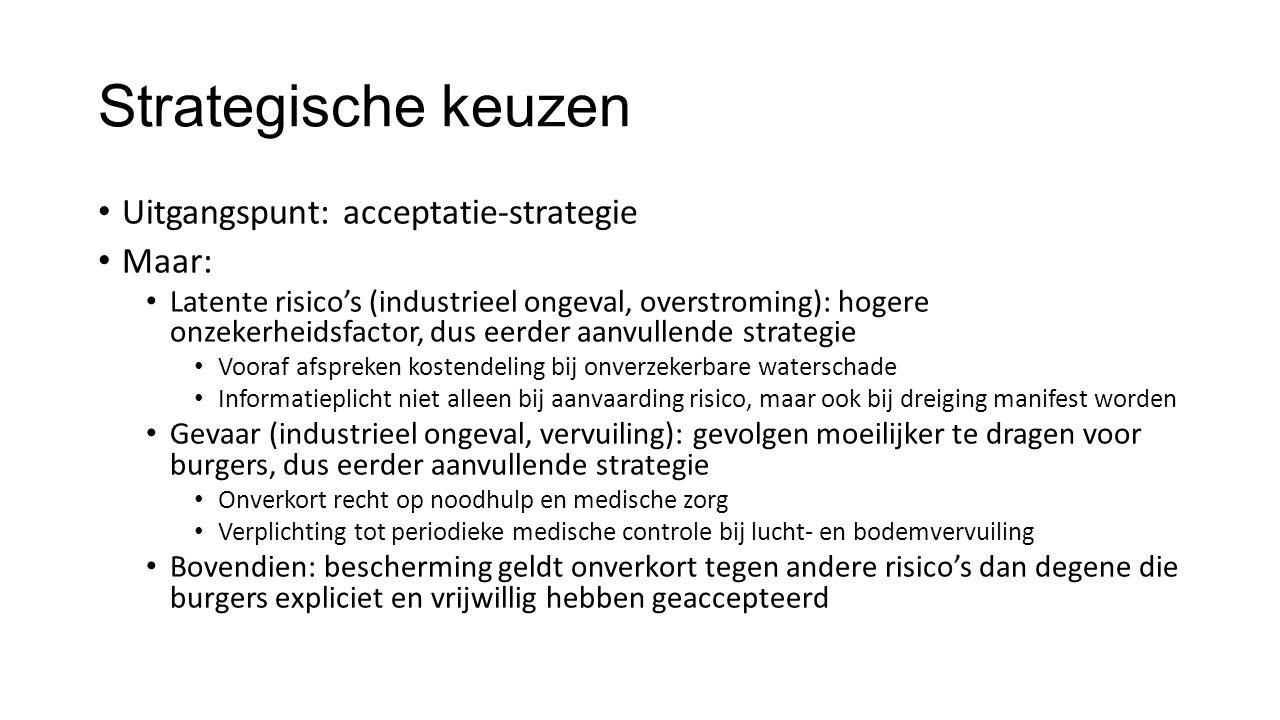 Strategische keuzen Uitgangspunt: acceptatie-strategie Maar: