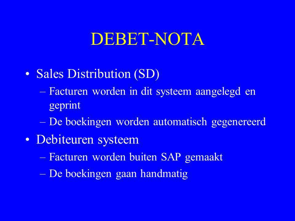 DEBET-NOTA Sales Distribution (SD) Debiteuren systeem