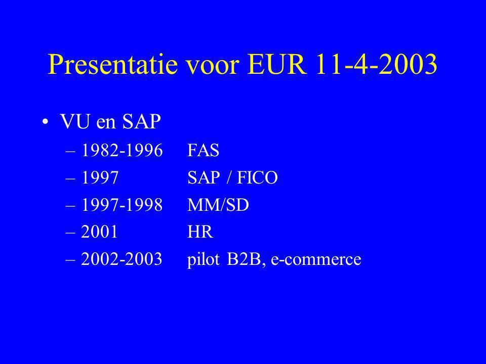 Presentatie voor EUR 11-4-2003
