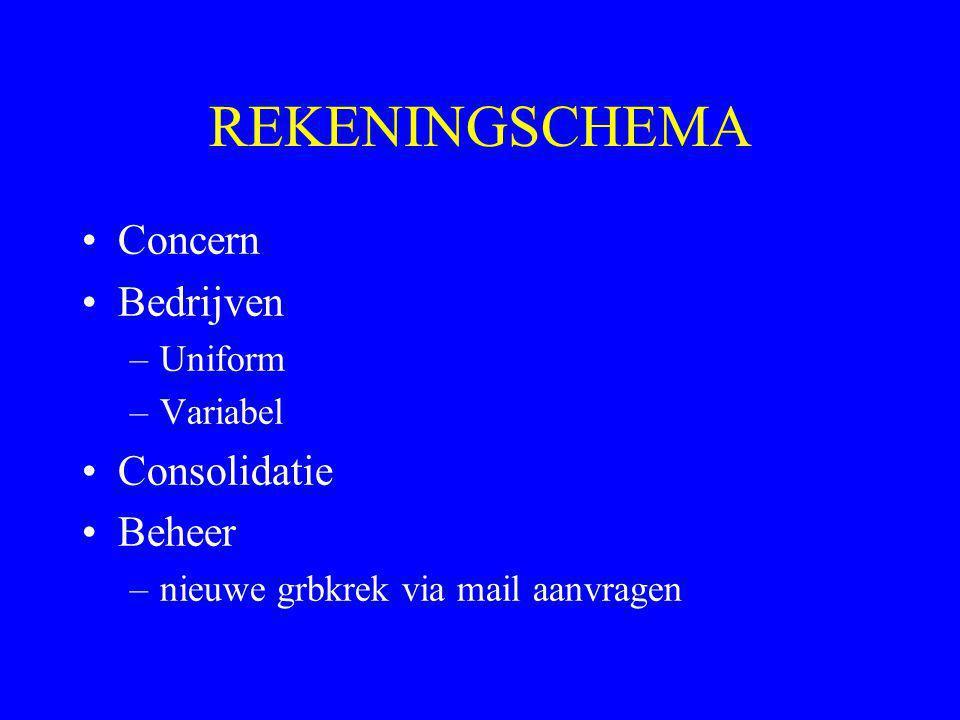 REKENINGSCHEMA Concern Bedrijven Consolidatie Beheer Uniform Variabel