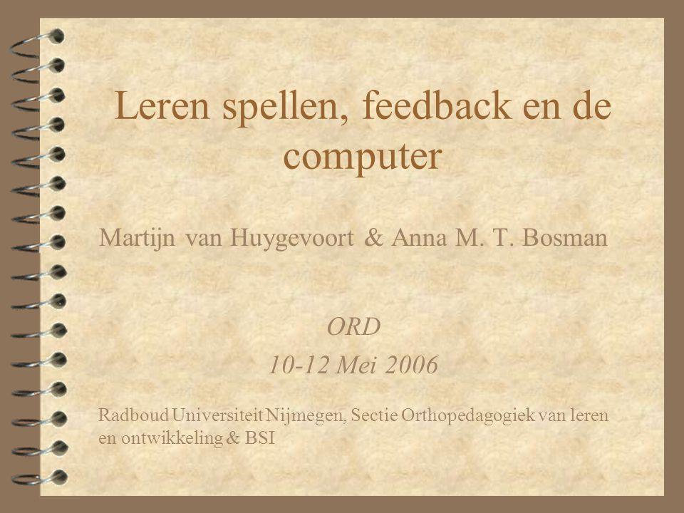 Leren spellen, feedback en de computer
