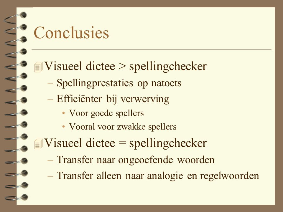 Conclusies Visueel dictee > spellingchecker