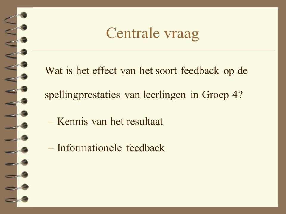 Centrale vraag Wat is het effect van het soort feedback op de spellingprestaties van leerlingen in Groep 4