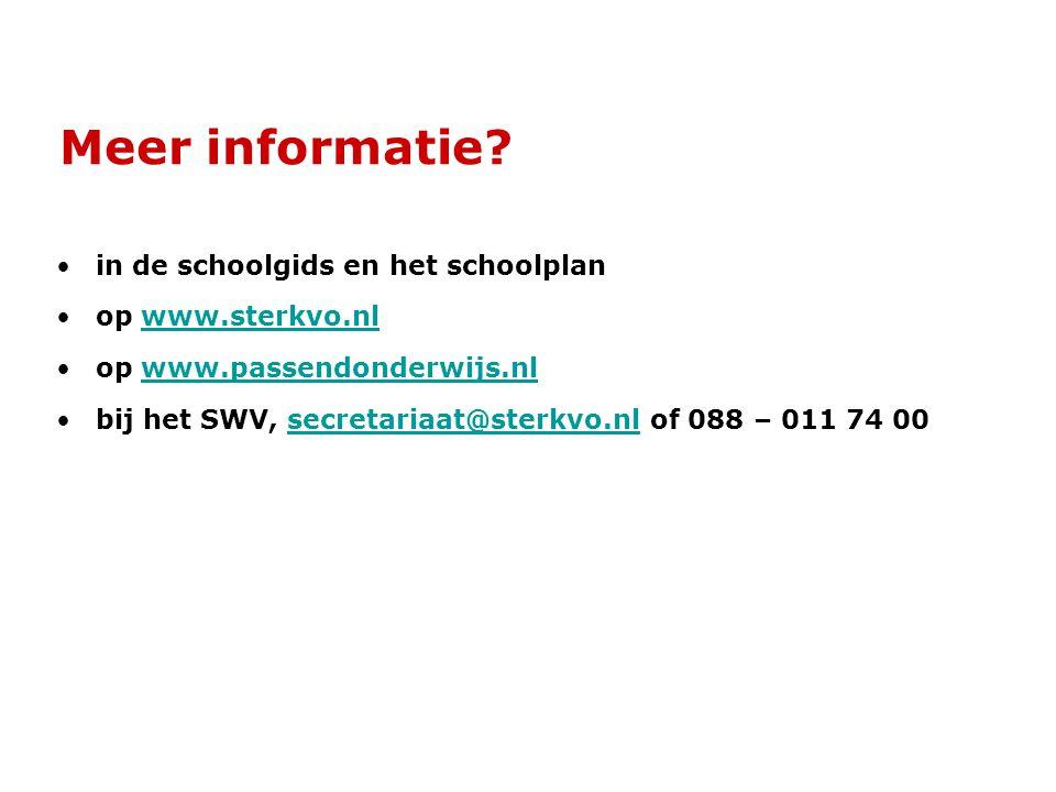 Meer informatie in de schoolgids en het schoolplan op www.sterkvo.nl