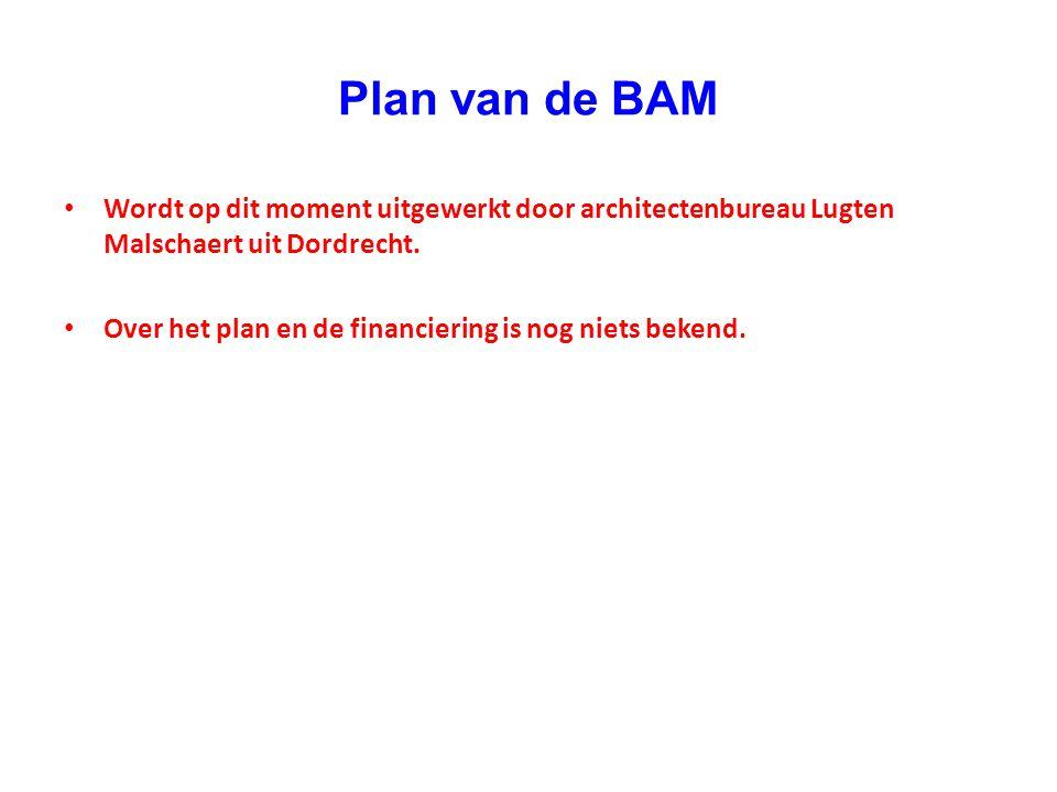 Plan van de BAM Wordt op dit moment uitgewerkt door architectenbureau Lugten Malschaert uit Dordrecht.