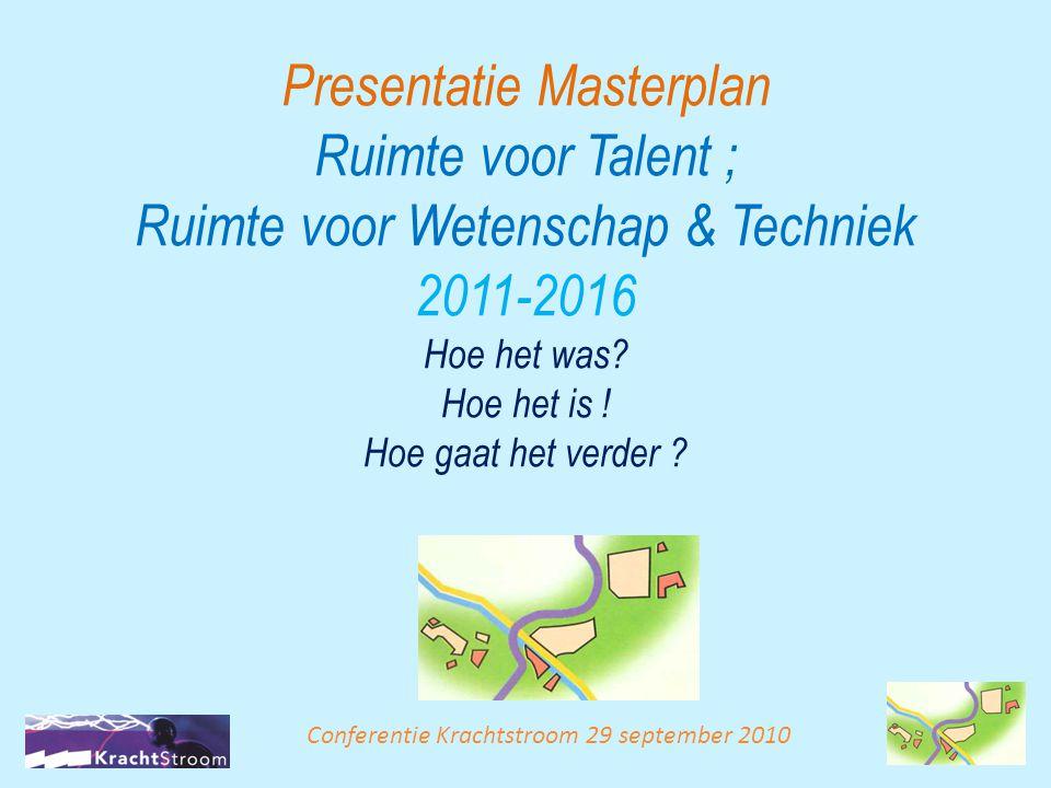 Presentatie Masterplan Ruimte voor Talent ; Ruimte voor Wetenschap & Techniek 2011-2016 Hoe het was Hoe het is ! Hoe gaat het verder