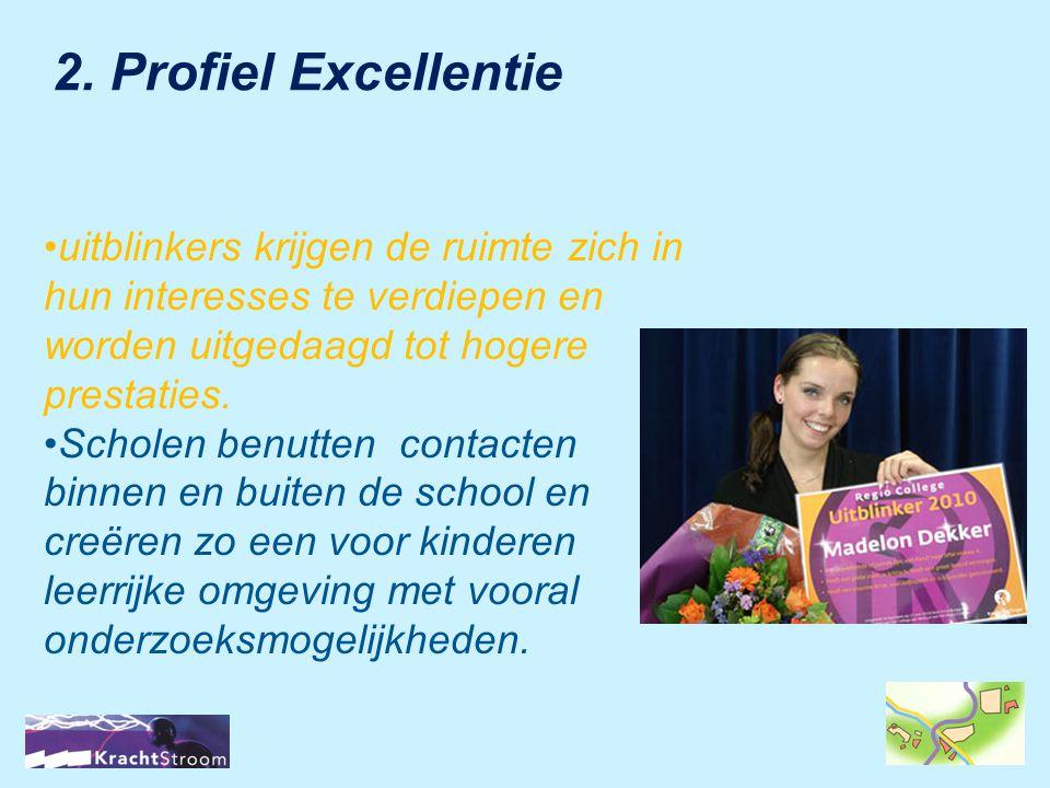 2. Profiel Excellentie uitblinkers krijgen de ruimte zich in hun interesses te verdiepen en worden uitgedaagd tot hogere prestaties.