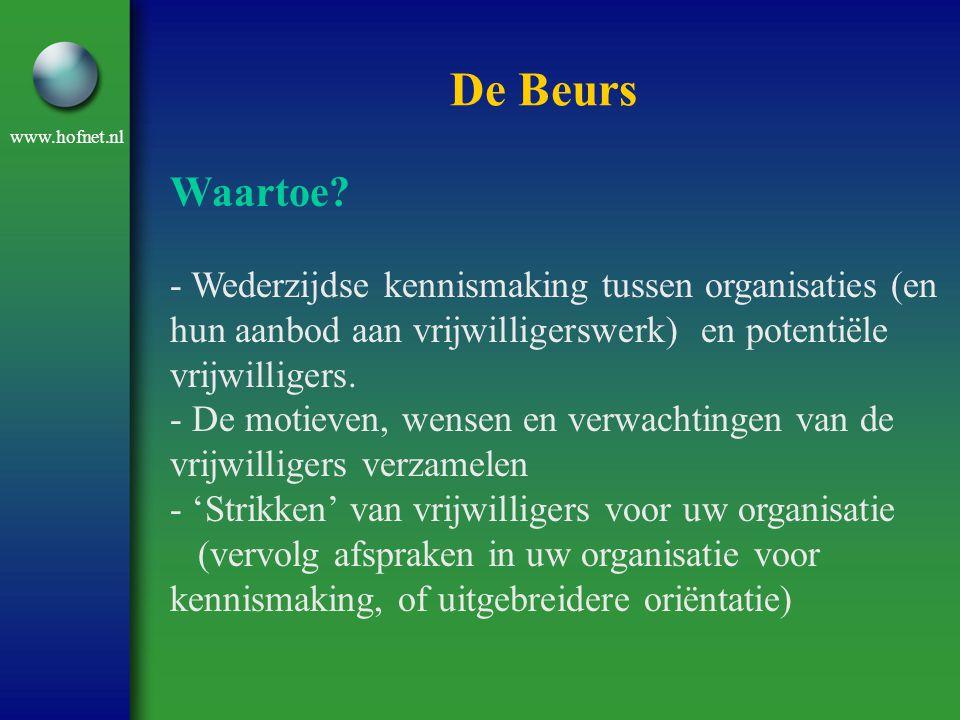 De Beurs Waartoe - Wederzijdse kennismaking tussen organisaties (en hun aanbod aan vrijwilligerswerk) en potentiële vrijwilligers.