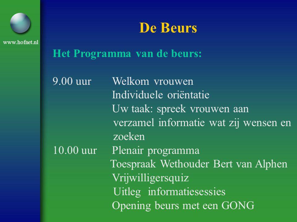 De Beurs Het Programma van de beurs: 9.00 uur Welkom vrouwen
