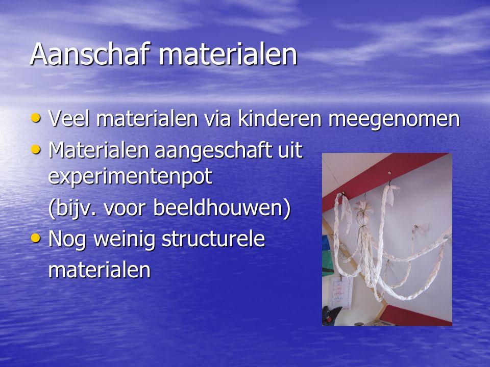 Aanschaf materialen Veel materialen via kinderen meegenomen