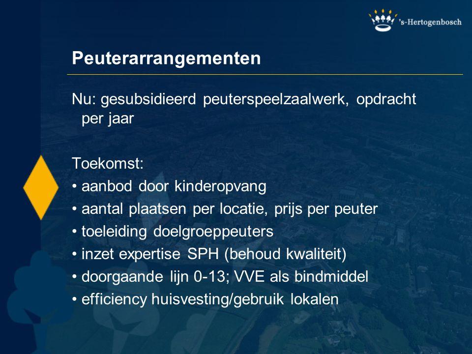 Peuterarrangementen Nu: gesubsidieerd peuterspeelzaalwerk, opdracht per jaar. Toekomst: aanbod door kinderopvang.