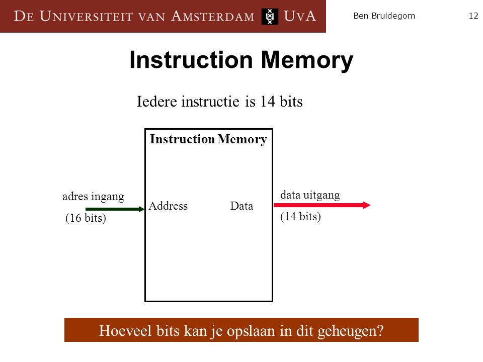 Instruction Memory Iedere instructie is 14 bits