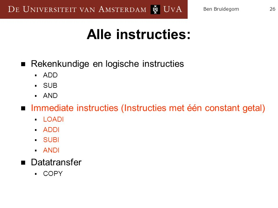 Alle instructies: Rekenkundige en logische instructies