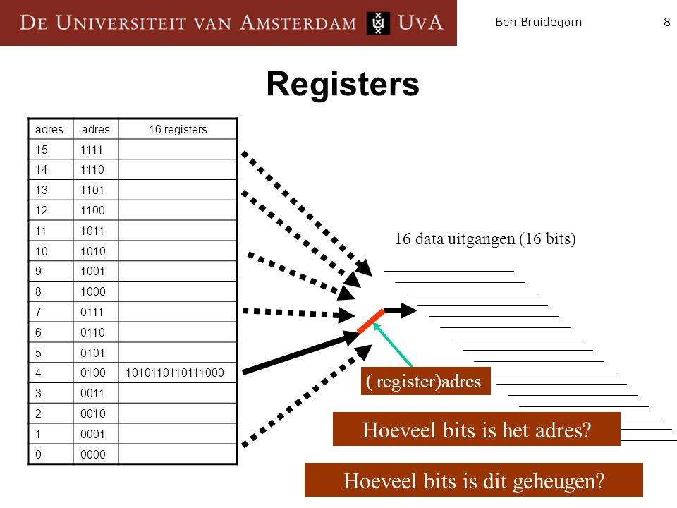 Registers Hoeveel bits is het adres Hoeveel bits is dit geheugen