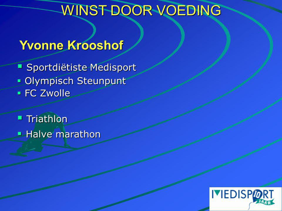 WINST DOOR VOEDING Yvonne Krooshof Sportdiëtiste Medisport Triathlon