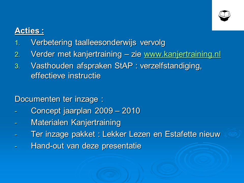Acties : Verbetering taalleesonderwijs vervolg. Verder met kanjertraining – zie www.kanjertraining.nl.