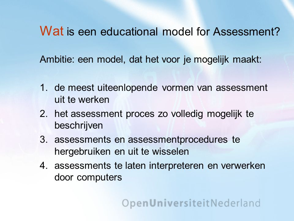 Wat is een educational model for Assessment
