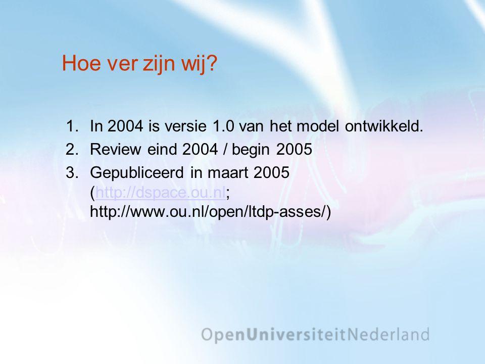 Hoe ver zijn wij In 2004 is versie 1.0 van het model ontwikkeld.