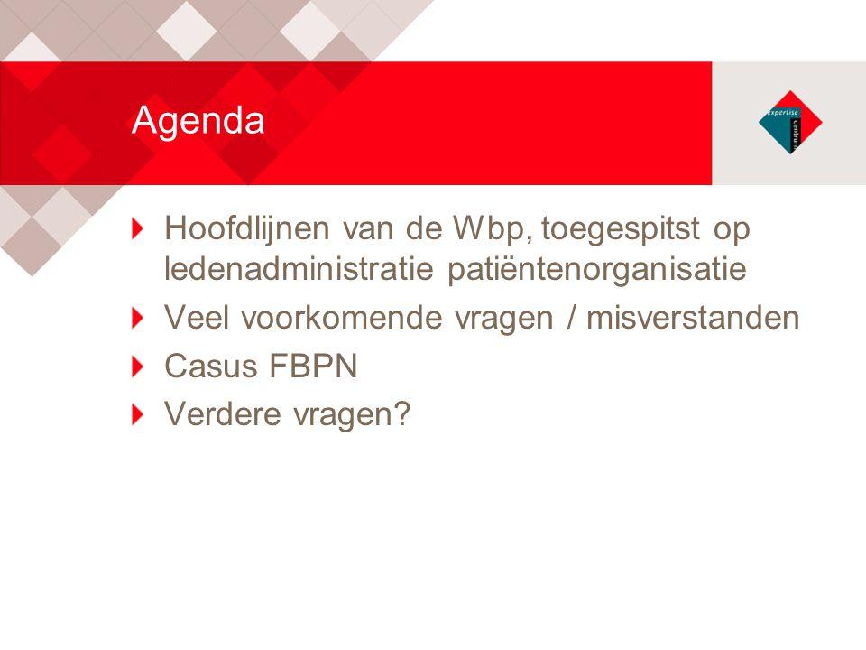 Agenda Hoofdlijnen van de Wbp, toegespitst op ledenadministratie patiëntenorganisatie. Veel voorkomende vragen / misverstanden.