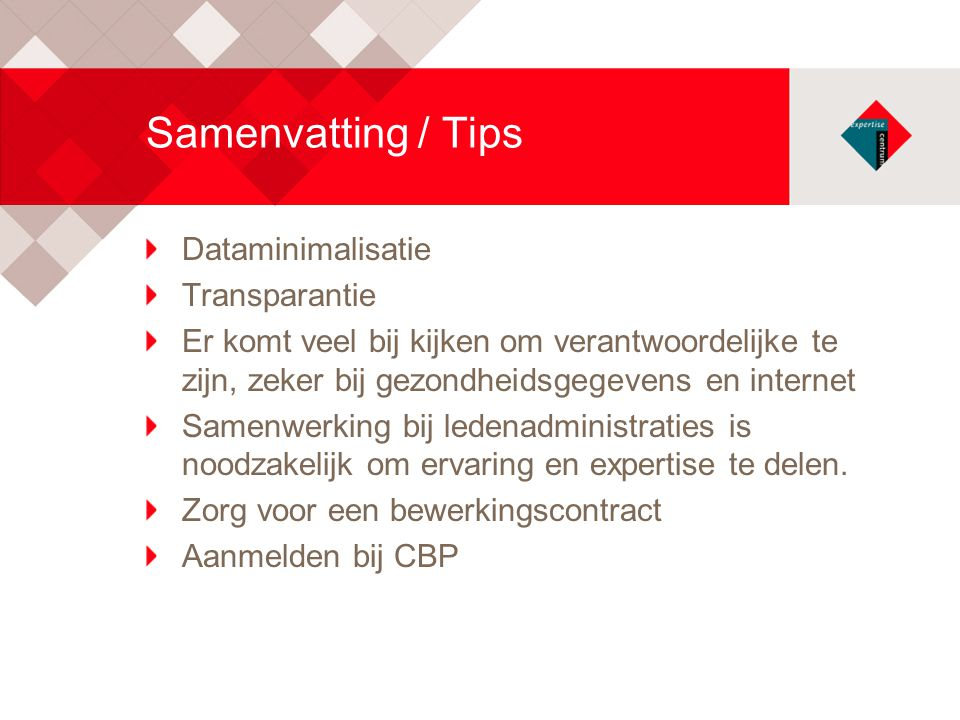 Samenvatting / Tips Dataminimalisatie Transparantie