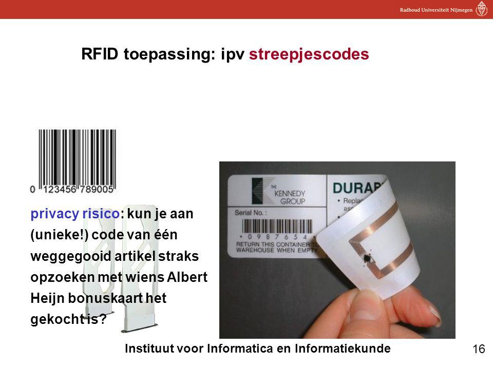 RFID toepassing: ipv streepjescodes