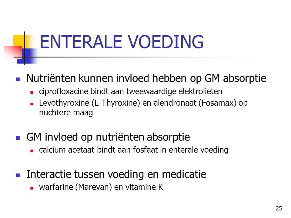 ENTERALE VOEDING Nutriënten kunnen invloed hebben op GM absorptie
