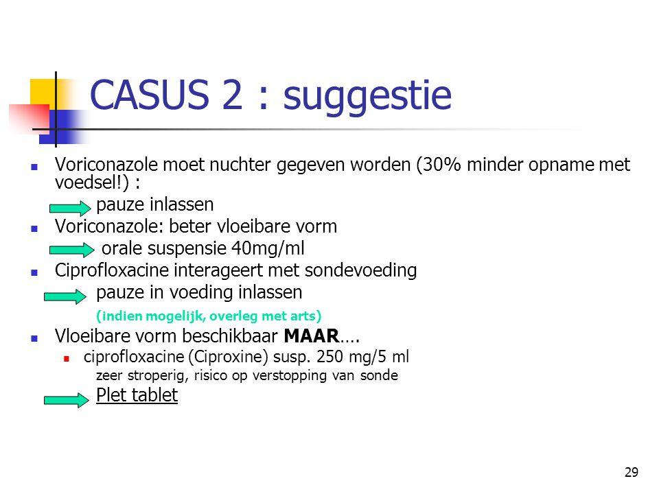 CASUS 2 : suggestie Voriconazole moet nuchter gegeven worden (30% minder opname met voedsel!) : pauze inlassen.
