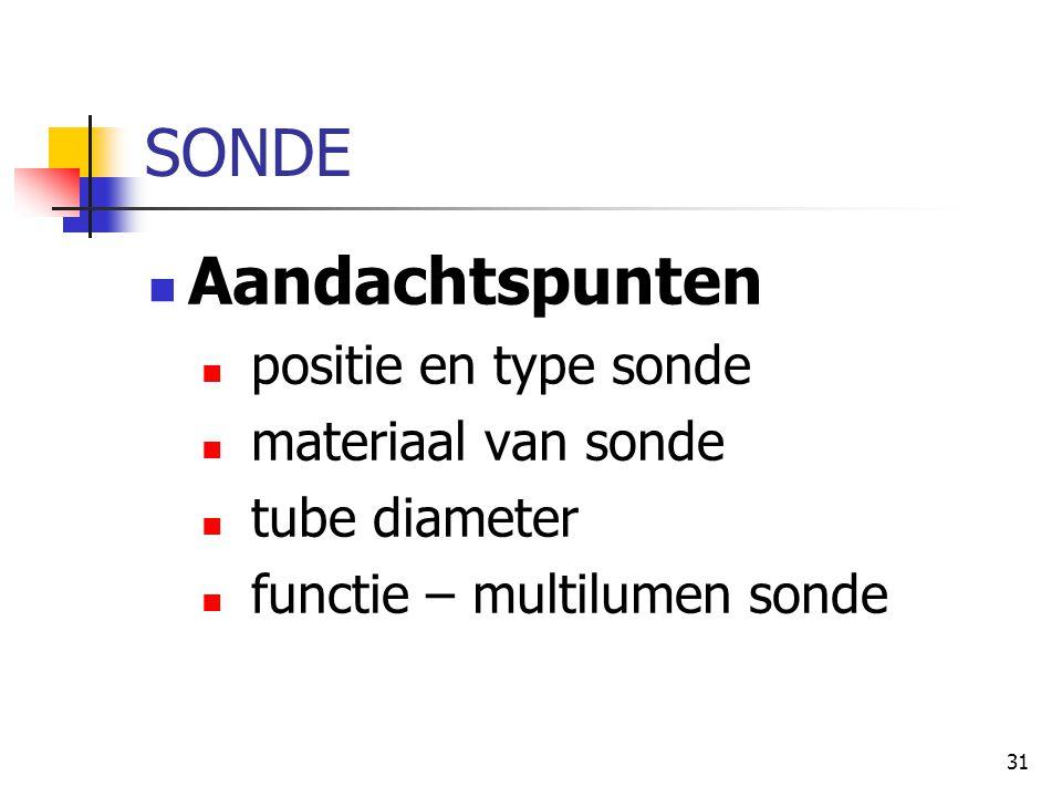 SONDE Aandachtspunten positie en type sonde materiaal van sonde