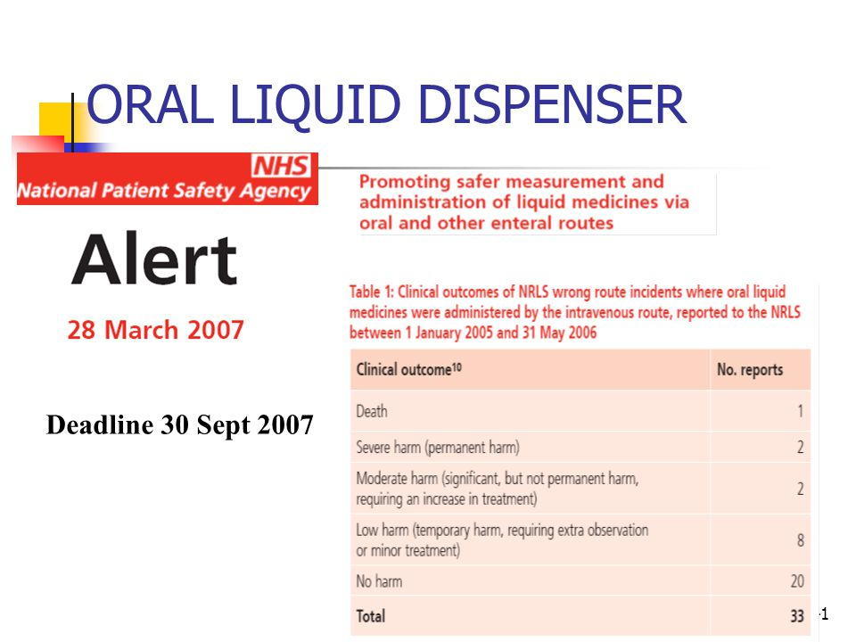 ORAL LIQUID DISPENSER Deadline 30 Sept 2007