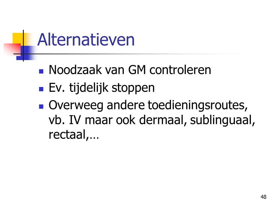 Alternatieven Noodzaak van GM controleren Ev. tijdelijk stoppen