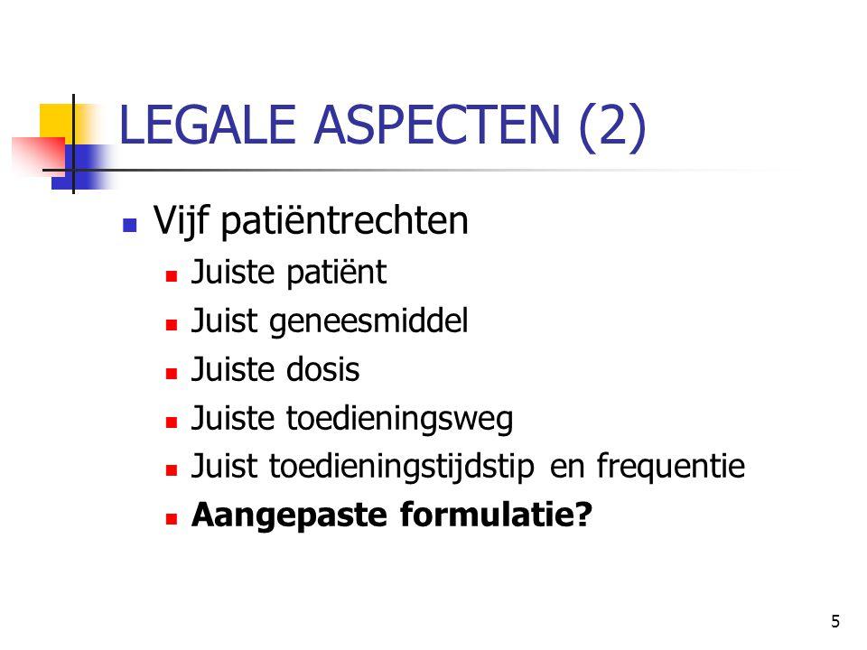 LEGALE ASPECTEN (2) Vijf patiëntrechten Juiste patiënt