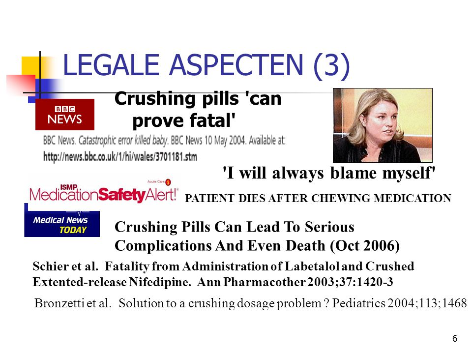 LEGALE ASPECTEN (3) Crushing pills can prove fatal