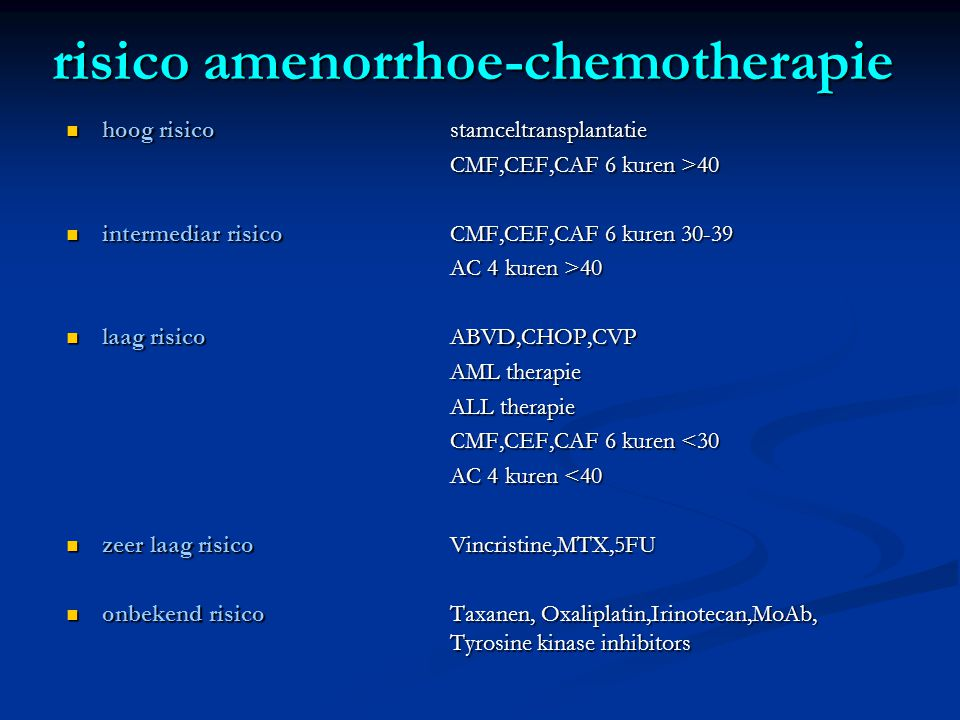 risico amenorrhoe-chemotherapie