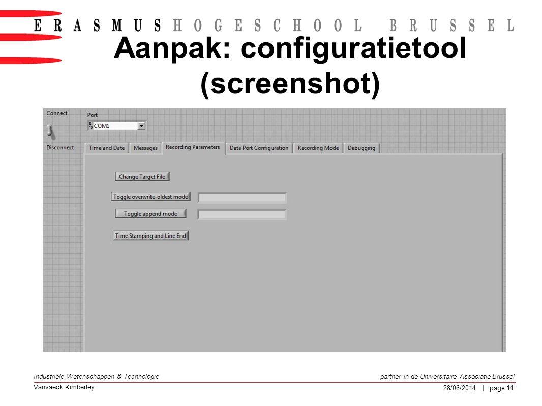 Aanpak: configuratietool (screenshot)