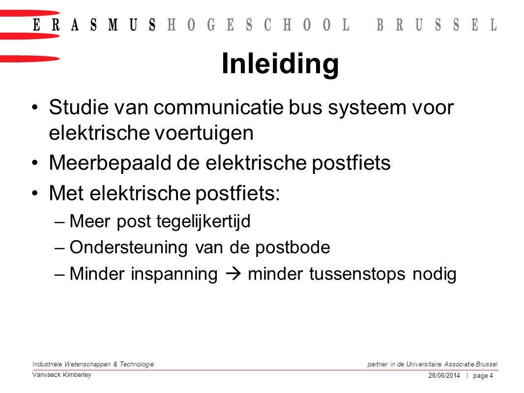 Inleiding Studie van communicatie bus systeem voor elektrische voertuigen. Meerbepaald de elektrische postfiets.