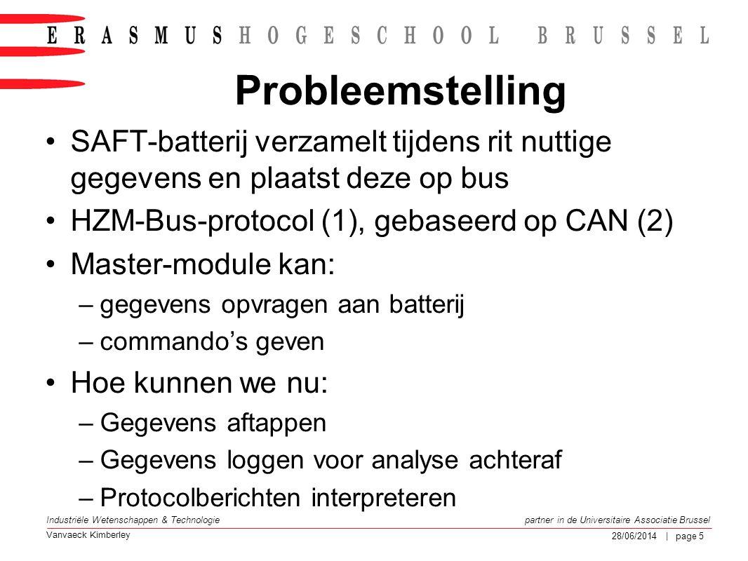 Probleemstelling SAFT-batterij verzamelt tijdens rit nuttige gegevens en plaatst deze op bus. HZM-Bus-protocol (1), gebaseerd op CAN (2)
