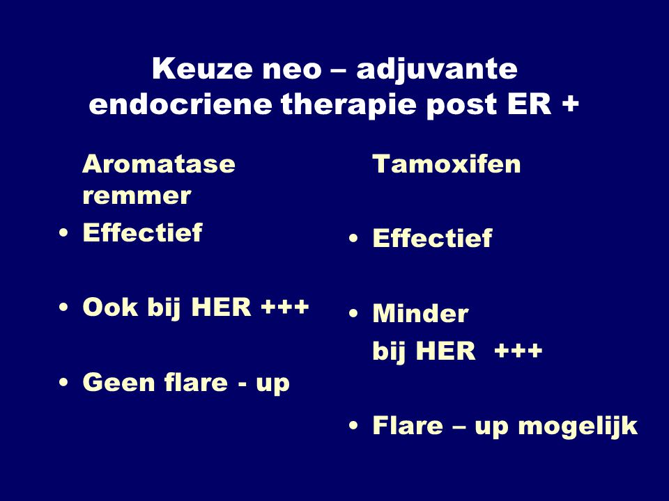 Keuze neo – adjuvante endocriene therapie post ER +