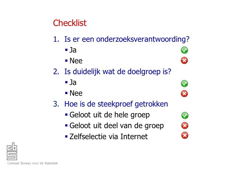Checklist Is er een onderzoeksverantwoording Ja Nee