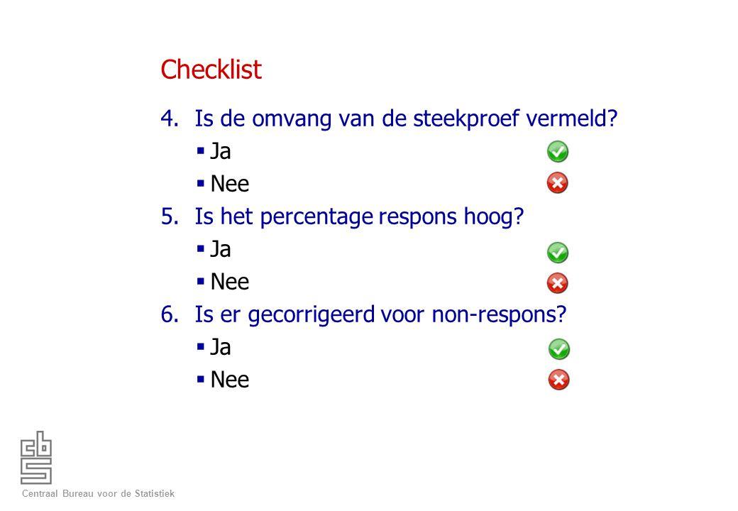 Checklist Is de omvang van de steekproef vermeld Ja Nee