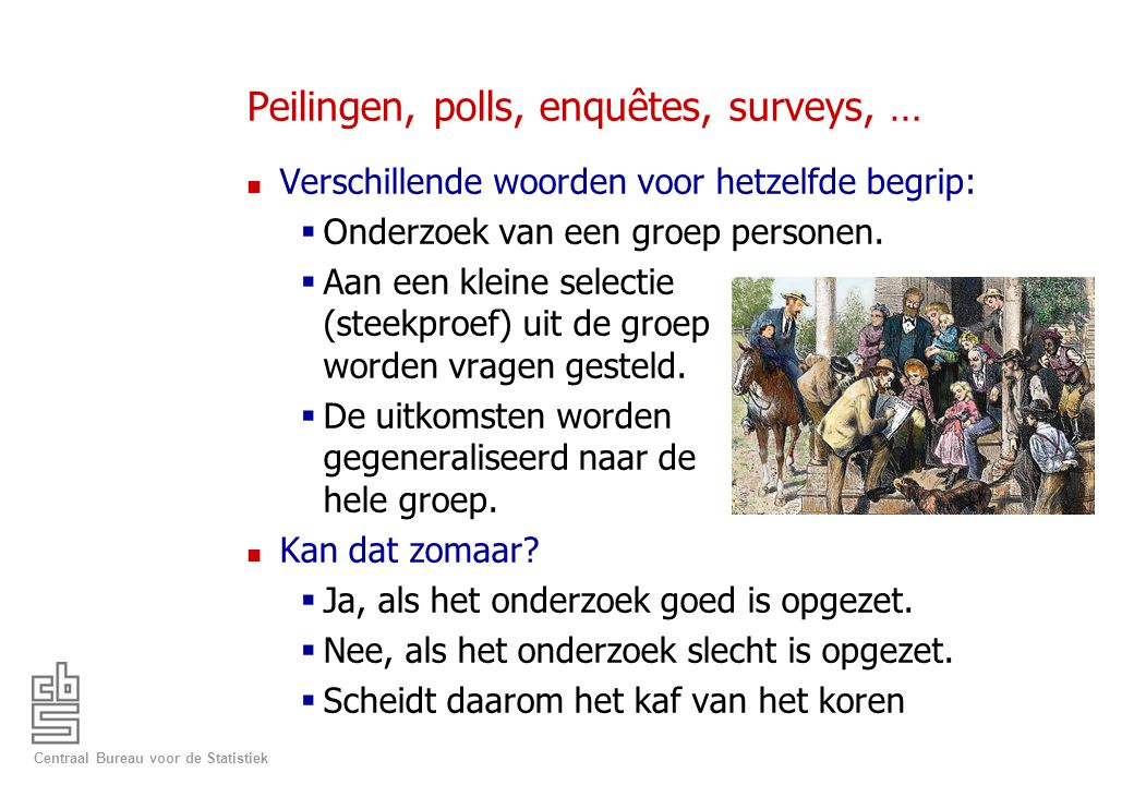 Peilingen, polls, enquêtes, surveys, …