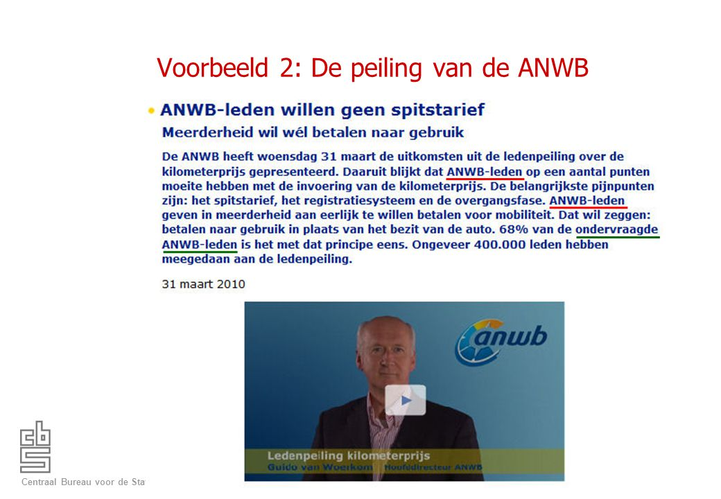 Voorbeeld 2: De peiling van de ANWB