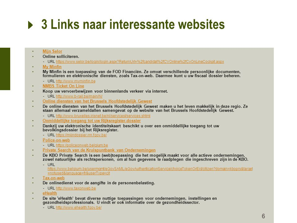 3 Links naar interessante websites