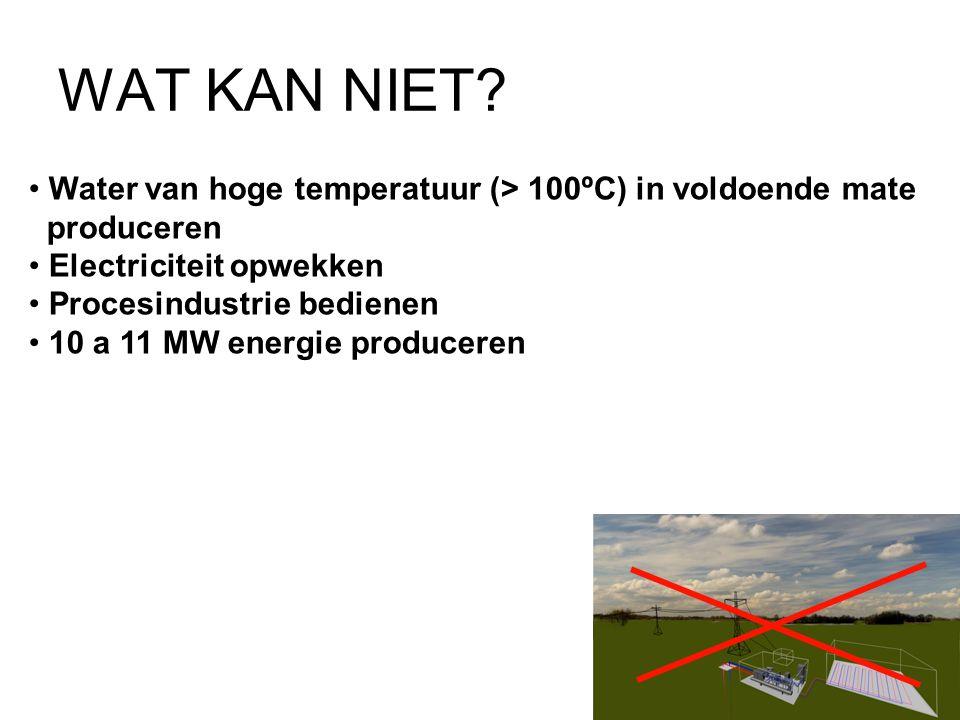 WAT KAN NIET Water van hoge temperatuur (> 100ºC) in voldoende mate. produceren. Electriciteit opwekken.