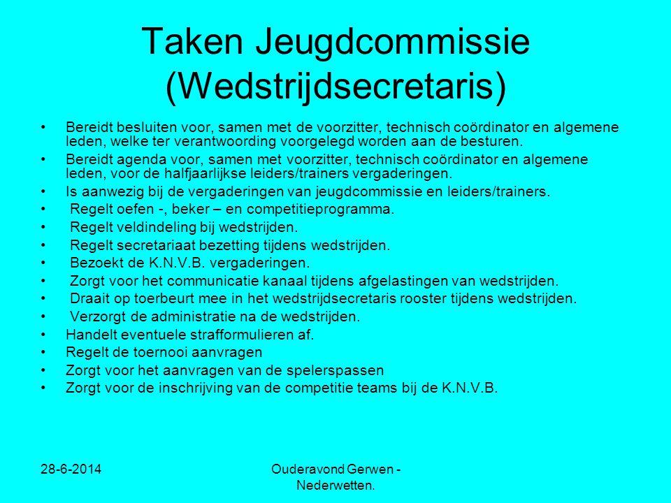 Taken Jeugdcommissie (Wedstrijdsecretaris)