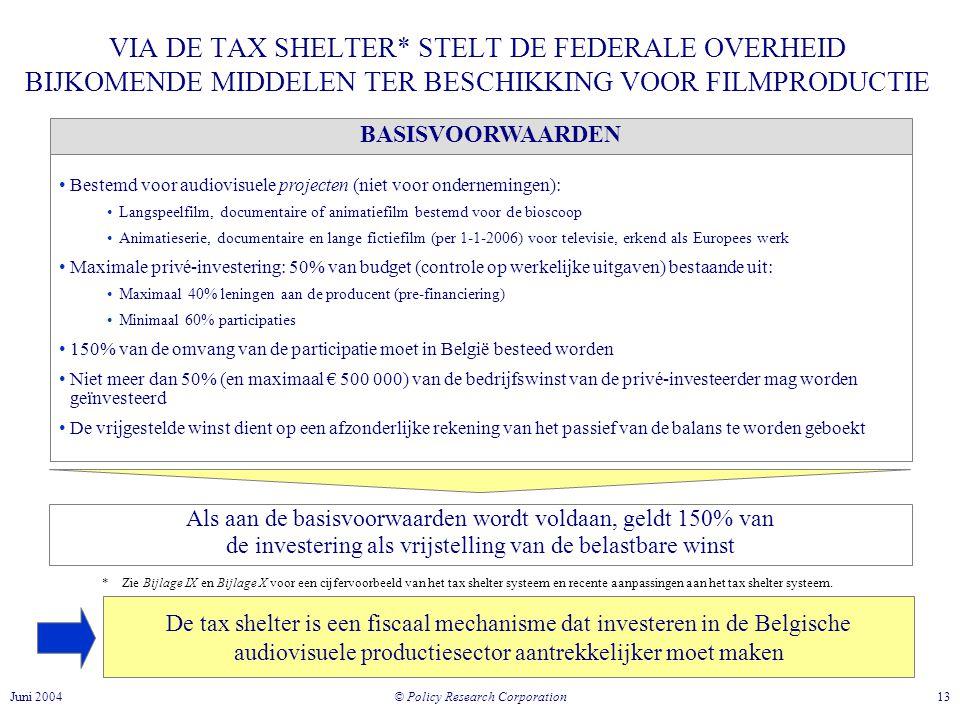 VIA DE TAX SHELTER* STELT DE FEDERALE OVERHEID BIJKOMENDE MIDDELEN TER BESCHIKKING VOOR FILMPRODUCTIE